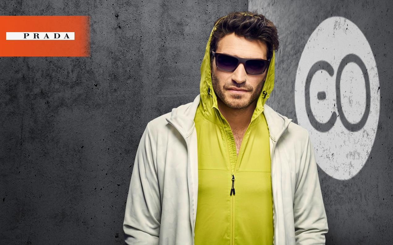 Male model wearing Prada sport men's glasses